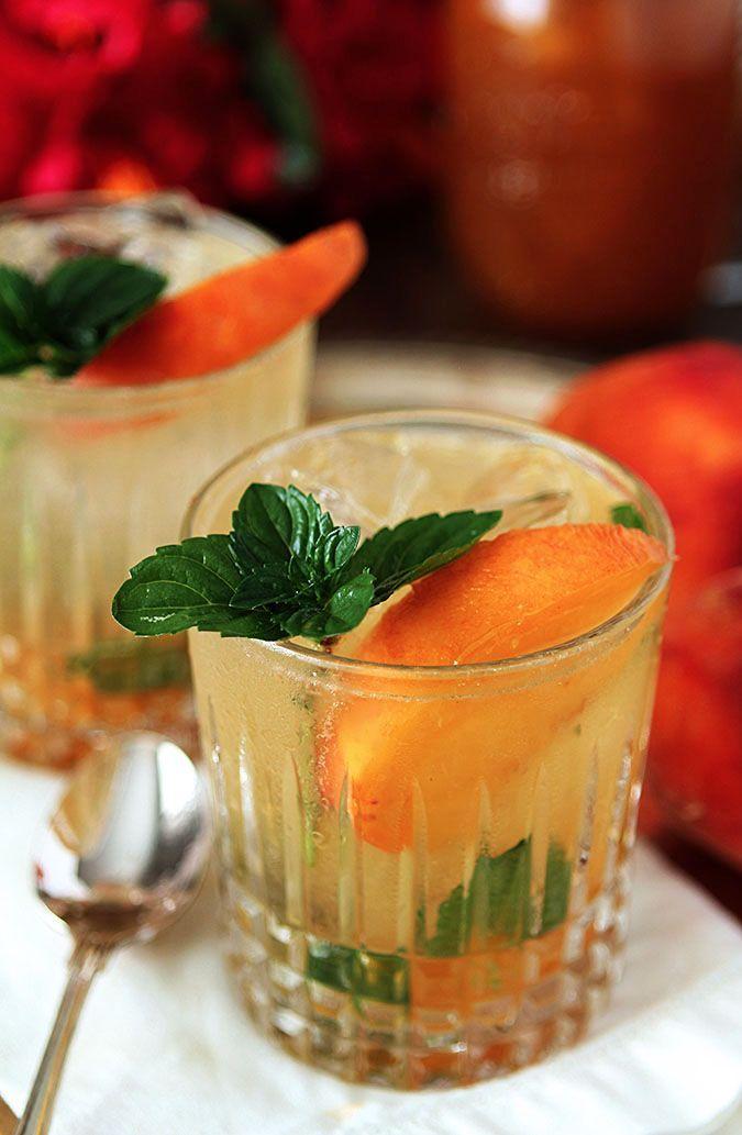 Bourbon and Peach Jam Smash