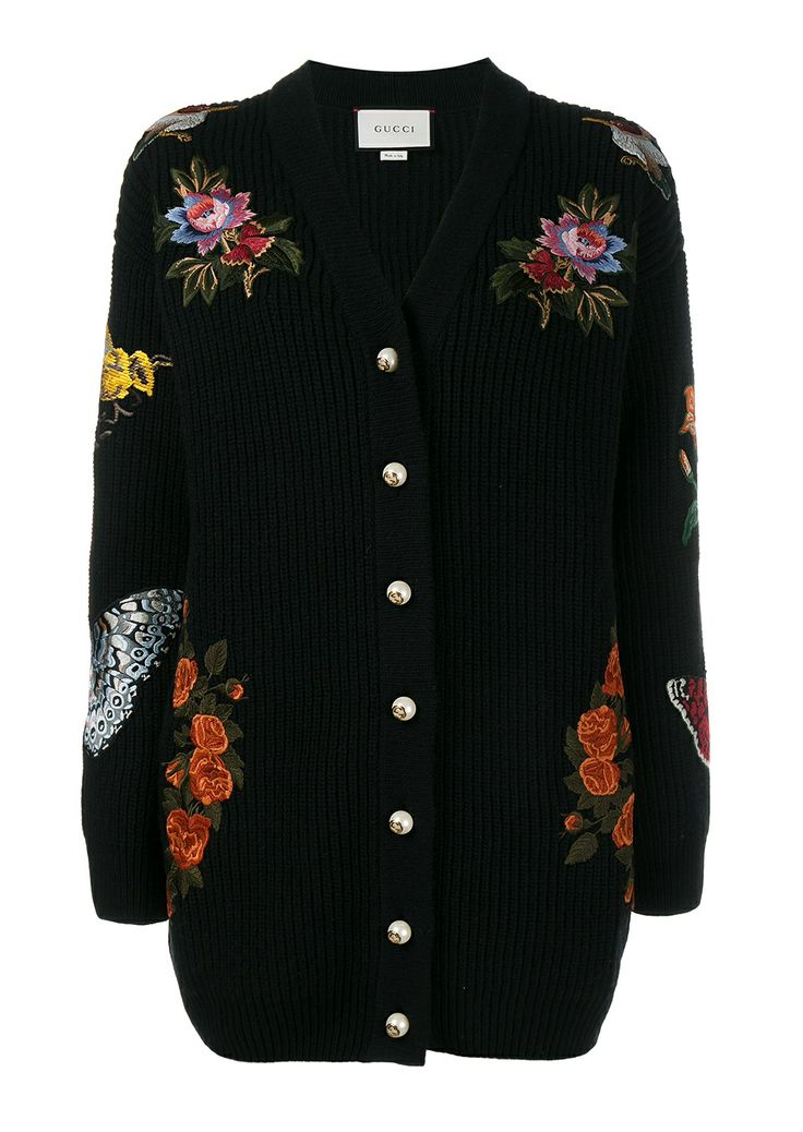 Gucci Oversized Embroidered Ribbed Wool Cardigan Long Sweater