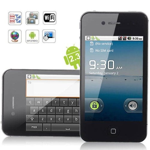 W008+ Quad Band Dual SIM 3.5 Inch Capacitive Screen Android 2.3 GPS Wifi Smart Phone Unlocked (T-mobile, At & T, Simple Mobile and Other GSM Networks)