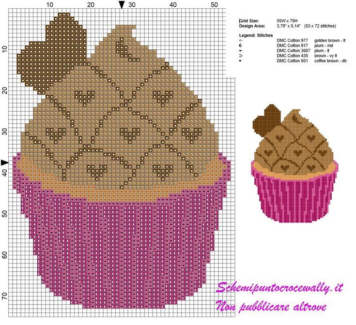 schema punto croce cupcakes con cioccolato e cuoricini