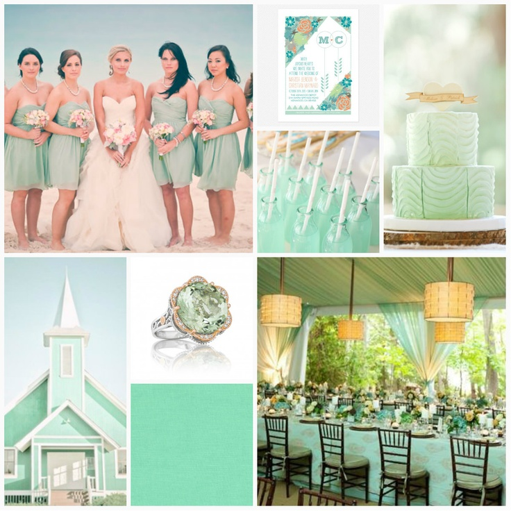 Don't think that you have to be limited to a beach wedding to rock this seaside-inspired color scheme. Whether you're considering a romantic garden affair or even a rustic barn setting, pale green shades like mint and seafoam are one of this summer's hottest color trends.