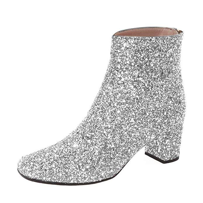 6849a583e624f Amazon.com | XYD Glitter Low Block Heel Ankle Boots Sequins Round ...
