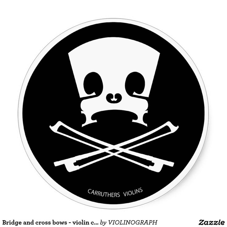 Bridge and cross bows - violin case sticker round sticker