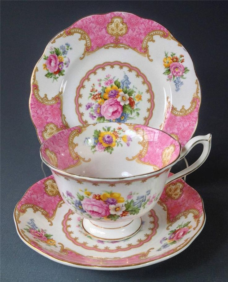 Shabby Vintage Trio Royal Albert English Bone China 'Lady Carlyle' Pink Floral | eBay