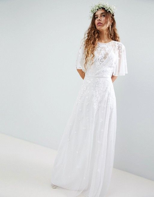 f281b951895 EDITION Embroidered Flutter Sleeve Maxi Wedding Dress