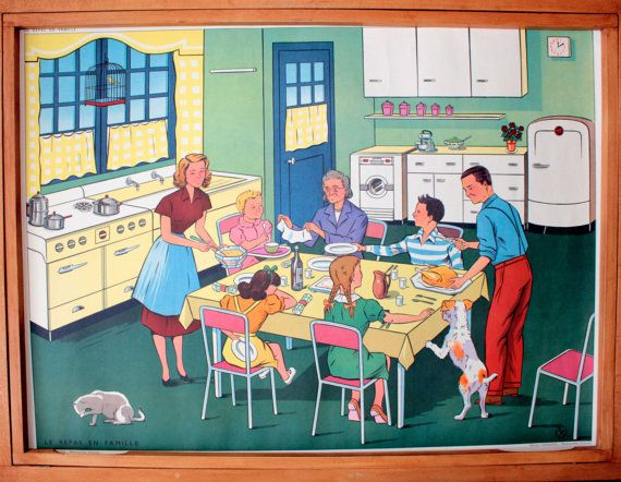 Vintage French school poster. Double sided .1950's. Original. The family meal - The disease