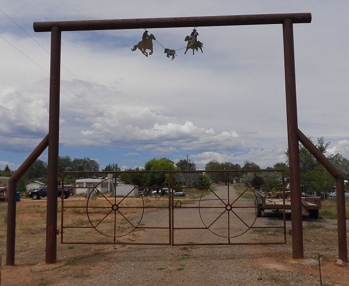 "6"" pipe gate...  wagon wheel gates. see more at carhartcustoms.com"