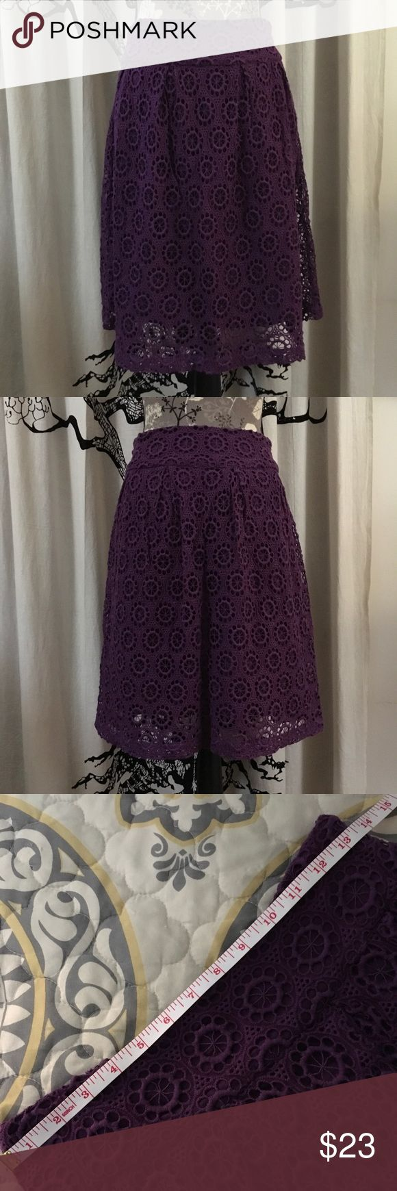 Garnet Hill Tatted Lace Skirt SZ 4/6 Gorgeous tatted lace (looks kind of like crochet) skirt by Garnet Hill in plum. Lined with hidden side zip. Wide flattering waistband. Perfect, like new condition. SZ 4 but could fit a smaller SZ 6 if you sometimes wear a 4.  **MEASUREMENTS IN ADDITIONAL PHOTOS** Garnet Hill Skirts Midi