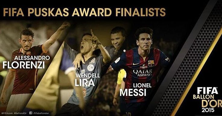 """Messi is among three finalists for 2015 Goal of the Year, alongside Florenzi (Roma) and Wendell Lira (Goianesia)"""