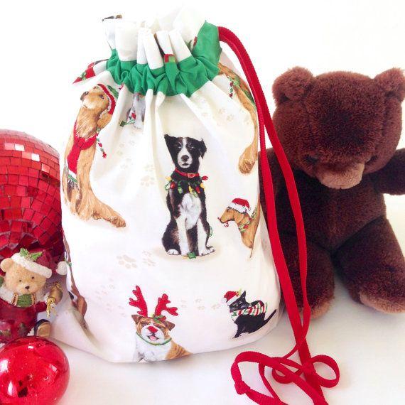 Small Animal Santa Sack Cats Dogs Christmas Sack Drawstring