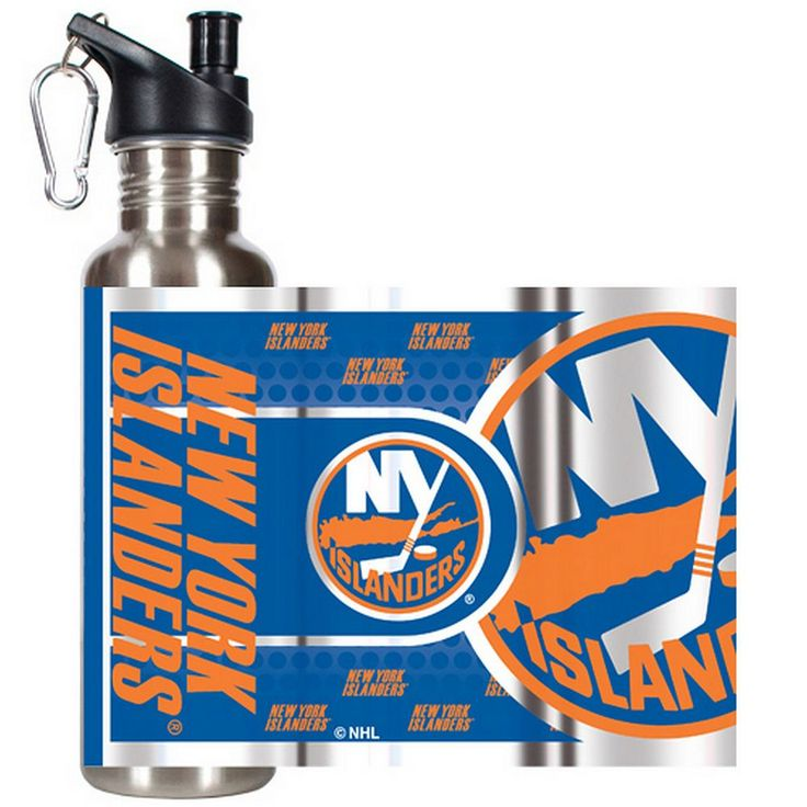 New York Islanders Stainless Steel Water Bottle With Wrap, Grey