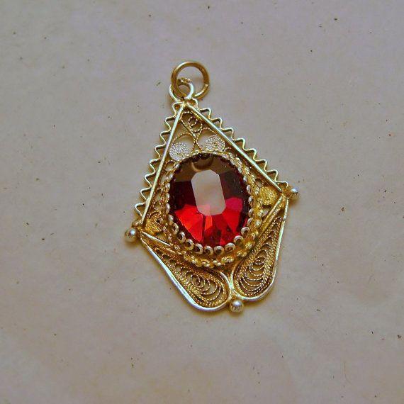 Vintage Blood Red Garnet Silver Filigree w by SilverFoxAntiques, $95.00