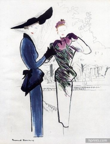 Bernard Blossac 1947 Fashion Illustration