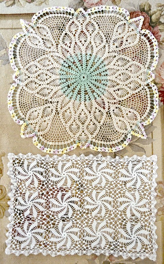 This listing is for two beautiful vintage crochet lace doilies. One is white and rectangular measuring 13 x 18. The other is round and measures 17