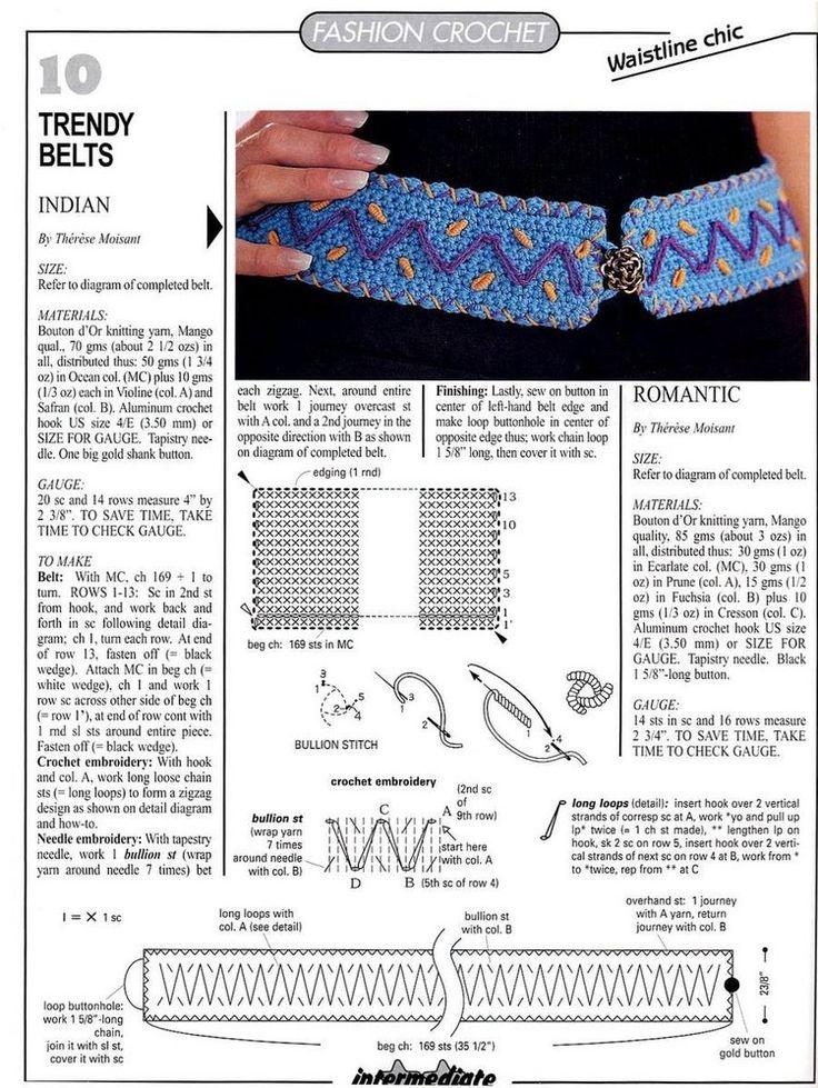 2 Cinturones de Crochet con Puntadas - Patrones Crochet