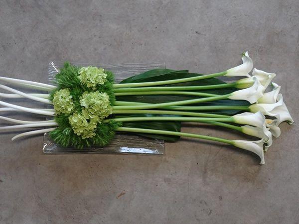 White calla lilies and green hydrangea | Bloemisterij Desmet