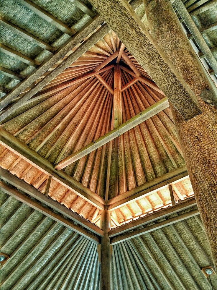 Traditional wooden roof structure from Bumi Langit Mosque in Imogiri, Yogyakarta, Indonesia