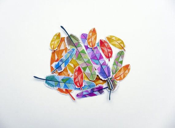 Colorful Feathers Sticker Set by #Kalatirth