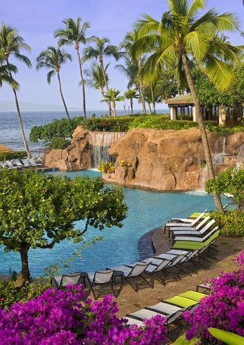 Clear water, palm trees, and a waterfall background- don't mind if I do at Hyatt Regency Maui Resort and Spa!