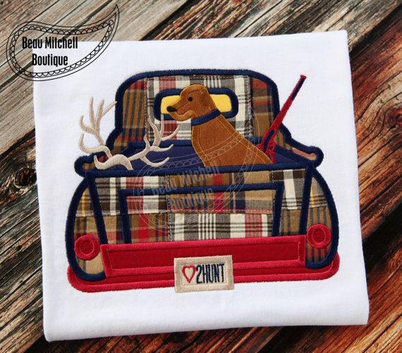 Hunting truck applique embroidery design by BeauMitchellBoutique