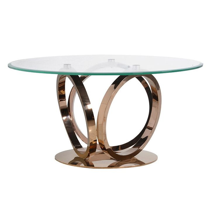 A Contemporary Round Dining Table Fashioned In Rose Gold Shimmering Metal,  Our Highly Polished And