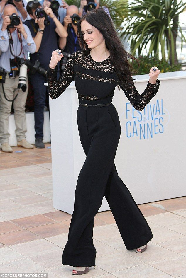 Strong arrival: The 33-year-old actress showcased her willowy frame in the elegant ensemble which featured sheer lace panel across the chest...