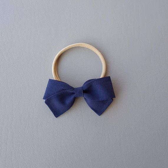 Navy Sailor Hair Bow Bow Headband Nylon Headband Girl Bow