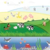 Tellen - Met deze app kunnen kinderen op een speelse manier leren tellen door de dieren te zoeken op de plaatjes.   Er zijn 2 niveaus: tellen van 1 tot 6 en van 1 tot 12. Met het draaiwiel leren de kinderen een basis functie van de iPad gebruiken. De antwoorden worden met geluid ondersteund. De gratis versie heeft een boerderij achtergrond en boerderij dieren. De betaalde versie heeft meerdere platen met zee, safari, noordpool, bos en vogels.