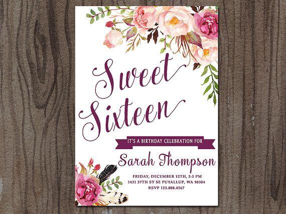 Sweet 16 Invitation Sweet Sixteen Invitation por SunnyDaysCreation                                                                                                                                                                                 Más