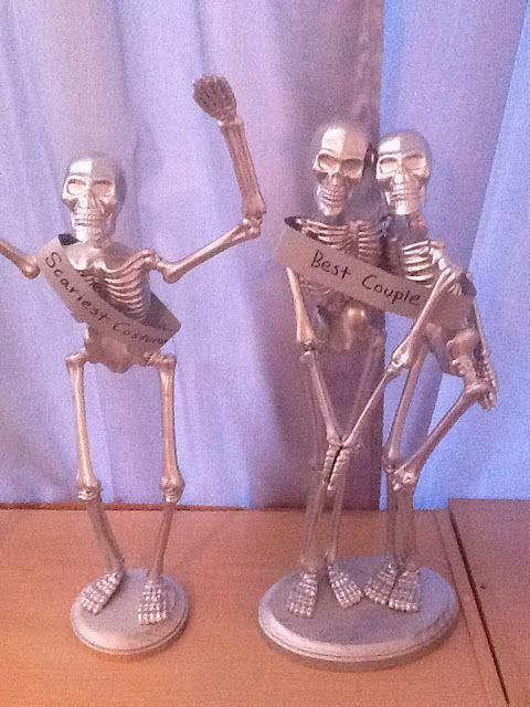DIY Halloween party awards made with Dollar Tree skeletons