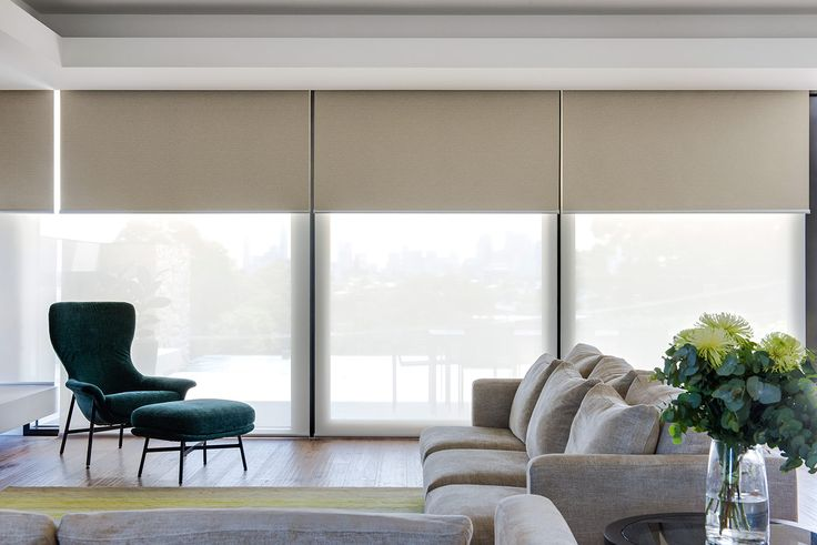 Dual motorised roller blind in Baltic Blockout and Ecoview sheer fabric.                                                                                                                                                     Window Furnishing: Roller Blinds                                                                                                                                                     Room: Kitchen & Living
