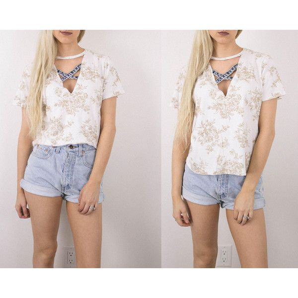 Vintage Floral Denim Cut Out Choker T Shirt Blouse Oversized Boxy... ($24) ❤ liked on Polyvore featuring tops, blouses, silver, women's clothing, floral tops, vintage blouses, short-sleeve blouse, vintage tops and multi color blouse