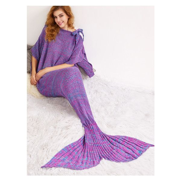Purple Knit Textured Mermaid Blanket With Bow Detail ($22) ❤ liked on Polyvore featuring home, bed & bath, bedding, blankets, purple blanket, knit bedding, textured blanket, purple bedding and purple bed linen