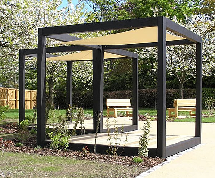 Elegant Charred FSC Green Oak Garden Cube With Hyper Shade Sail