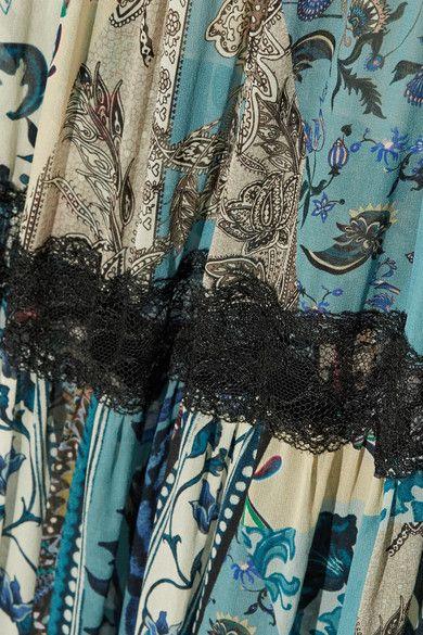 Roberto Cavalli | Lace-trimmed printed silk-chiffon maxi skirt | NET-A-PORTER.COM