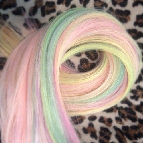 Rainbow/sorbet colored hair extensions - The Beauty Thesis