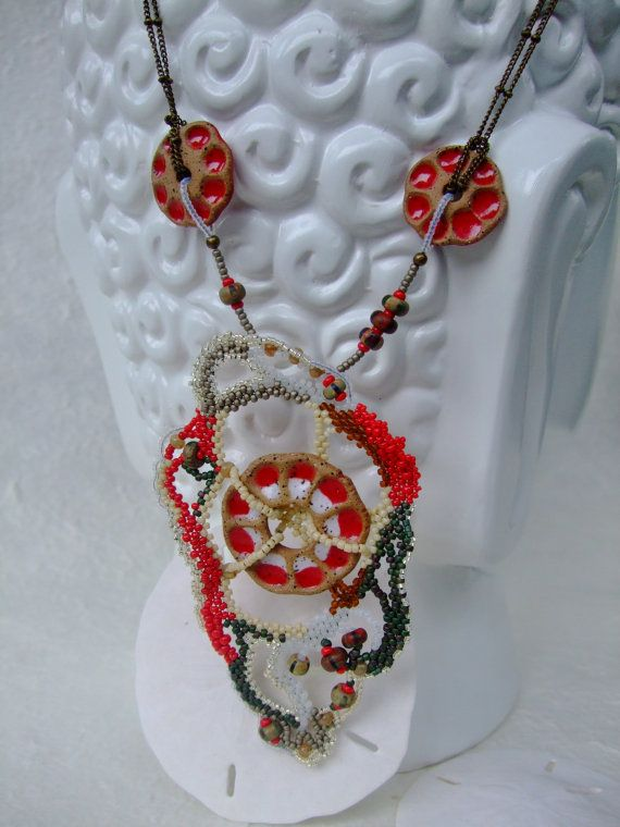 Red Brown Ivory Freeform Peyote Necklace with by PhantasmCreates