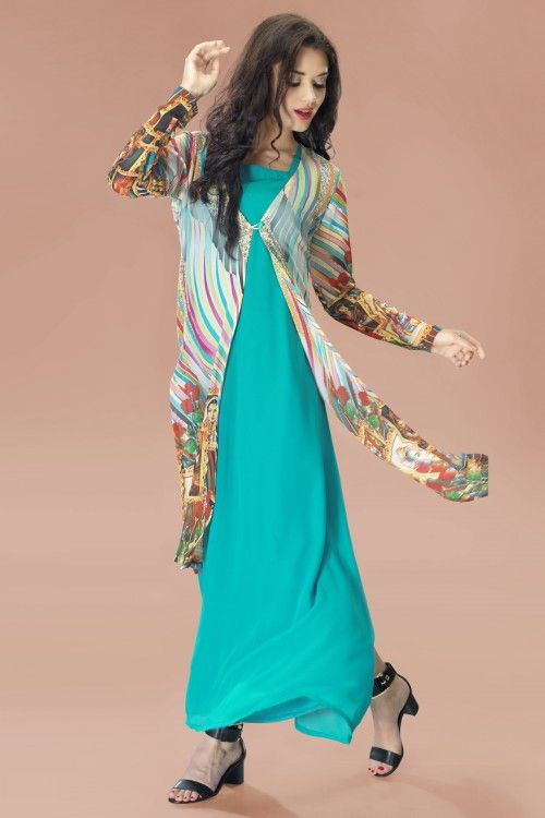 Aqua Georgette Tunic with Multi Colour Chiffon Jacket