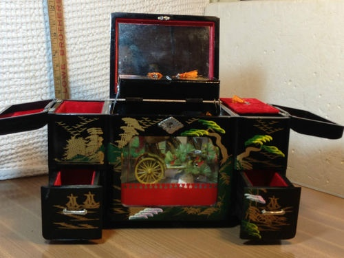 Vintage Japanese Mt. Fuji Black Lacquer Hand Painted Rickshaw Music Jewelry Box