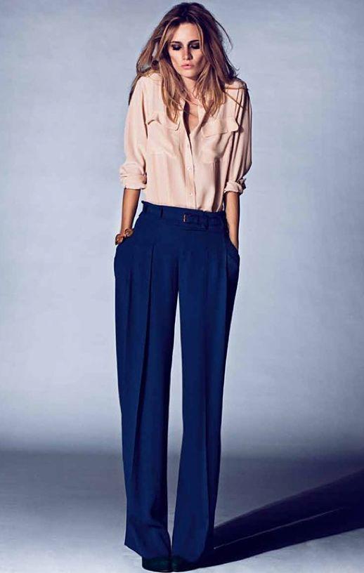 Equipment blouse + Royal blue wide leg pants