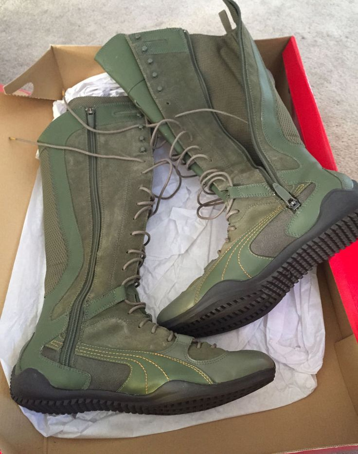 New 8 womans W Puma London trail boots walking hiking long green high lace up #PUMA #HikingTrail