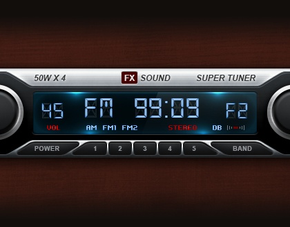Radio UI Photoshop Freebie at http://psdees.com