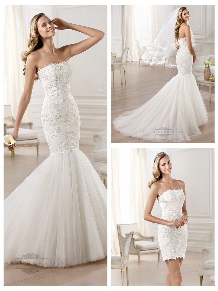 Strapless Mermaid Wedding Dresses Featuring Applique Crystal