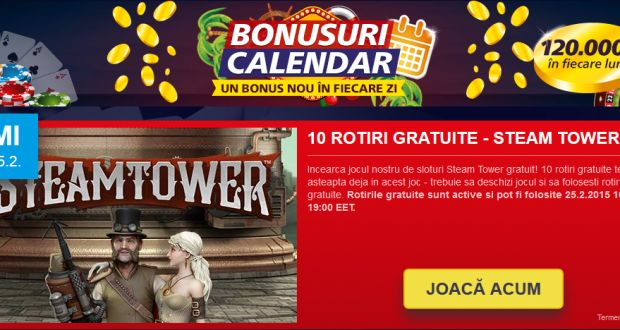 10 rotiri gratuite la jocul Steam Tower FARA DEPOZIT - doar azi doar la Sportingbet - Casino