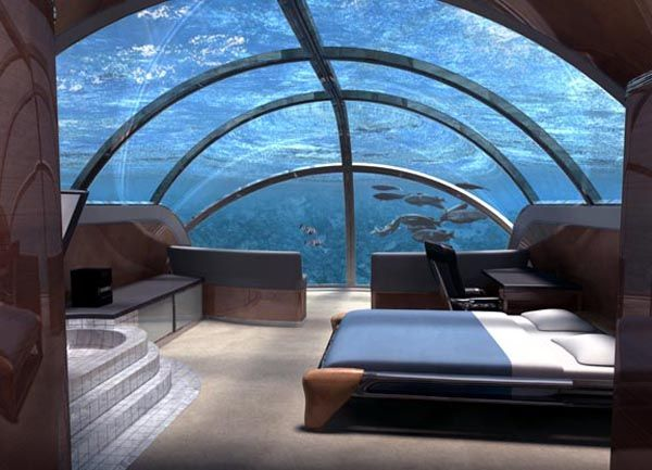 20 Most Extraordinary Hotel Rooms. I think this underwater one would be a great place to sleep.