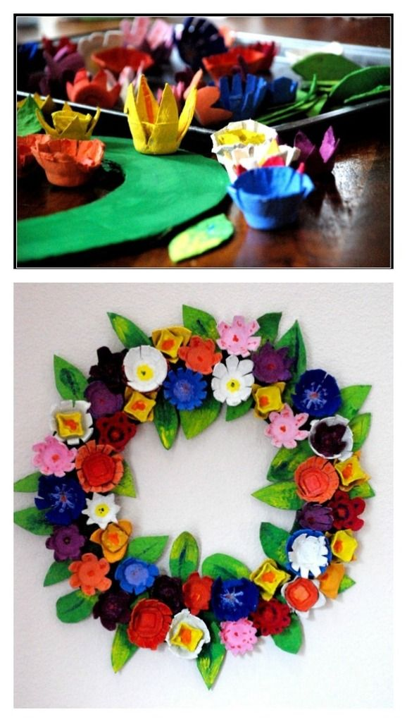 Whoa: this DIY egg-carton flower wreath craft at Homemade Serenity is amazing.