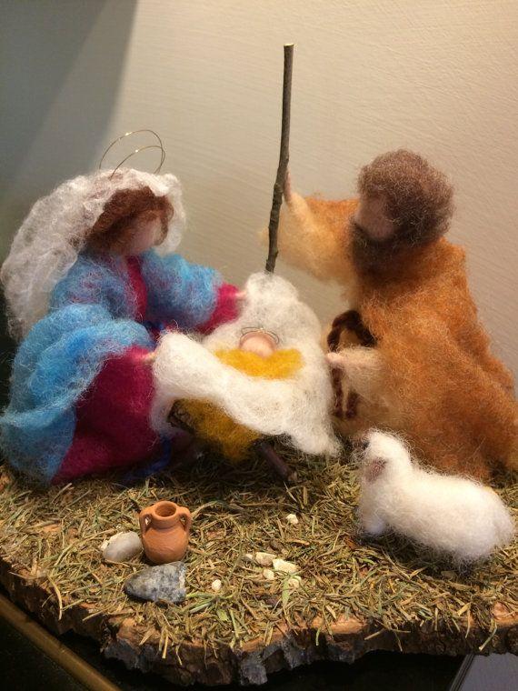 Needle felted Nativity Waldorf inspired Wool Christmas Nativity scene:  Marie, Joseph and Jesus Soft sculpture Gift