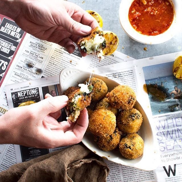 Broccoli Rabe Arancini With Marinara Sauce. Get this #recipe and 30 more of our favorite Italian recipes at https://feedfeed.info/italian-food?img=1049972 #feedfeed
