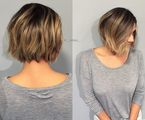 short textured bob with highlights