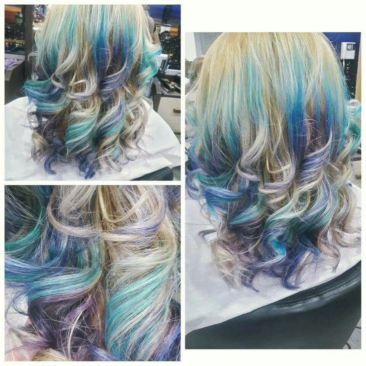 #blondehair #turqoisebluepurplebalayage